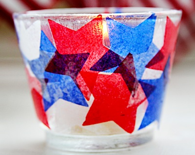 patriotic tissue paper votive candle holders