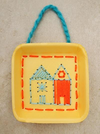yarn embroidered styrofoam trays