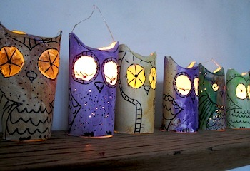 toilet roll glowing eye owl lanterns