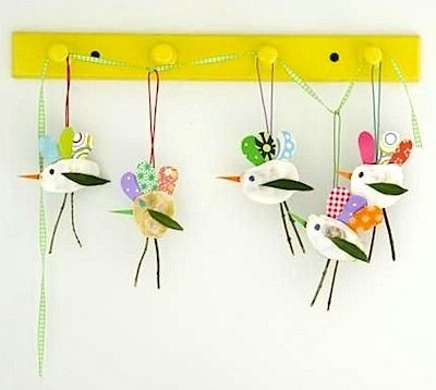 shell bird mobile craft