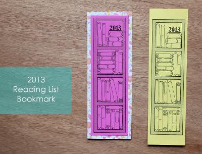 2013 free printable bookmark to record books read
