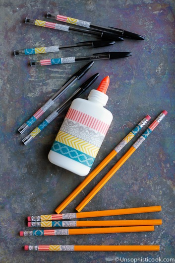 personalized school supplies with washi tape