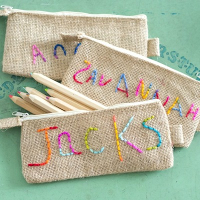 embroidered burlap pencil pouch