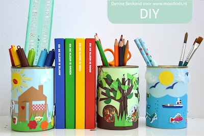 decorated tin cans school or office supplies