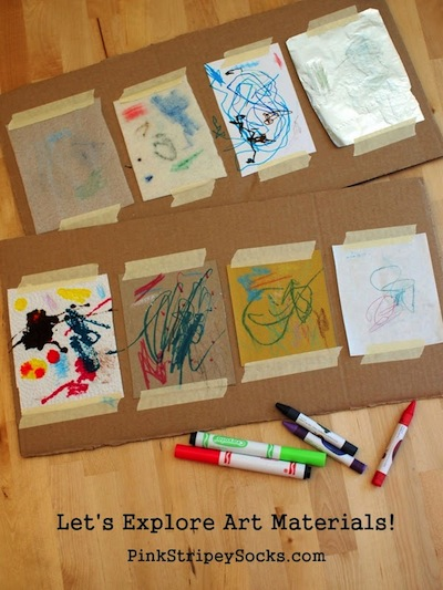 exploring art materials with kids