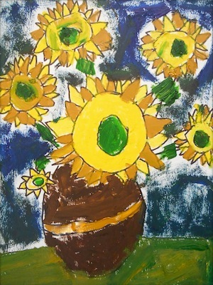 Van Gogh sunflowers art lesson for kids