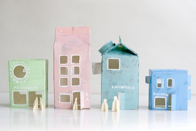 pastel milk carton town