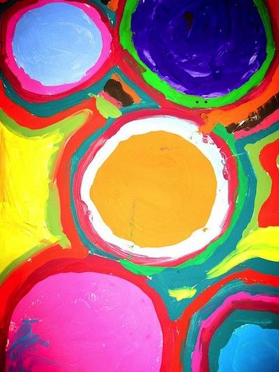 Tina on Flickr tempera circles by 1st graders