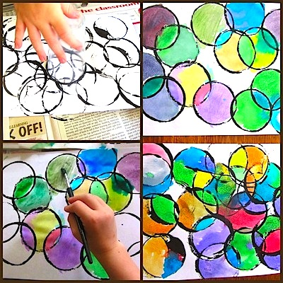 The Unlikely Homeschool circle prints and painting