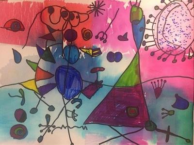 Miro style tissue painting