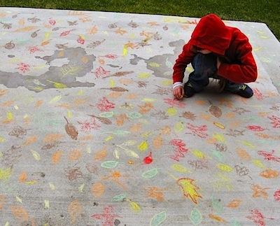 sidewalk chalk leaves