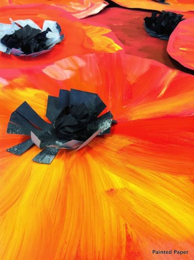 Georgie O'Keefe poppies art lesson giant painted poppies