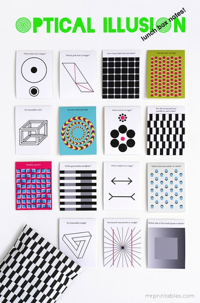 optical illusion lunch box notes free printable