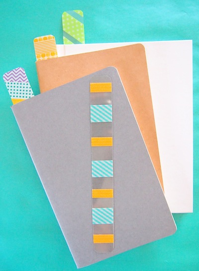 washi tape and recycled  plastic bookmarks