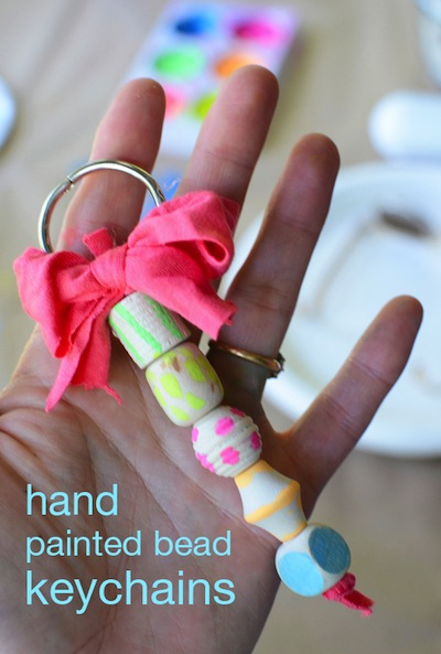 hand painted wood bead key chains or backpack charms