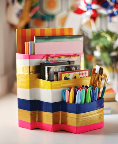back to school homework caddy duct tape craft