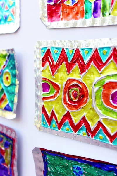 embossed aluminum tin and Sharpie art lesson