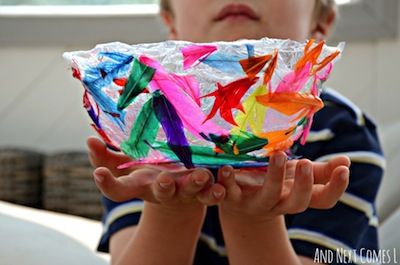colorful feather bowl craft