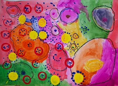 Polka Dot Spot dot paintings by 1st graders