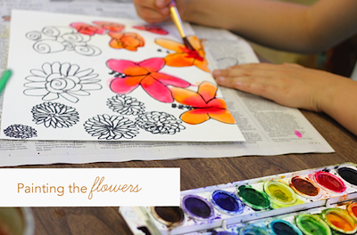 pen drawn flowers painted with watercolors