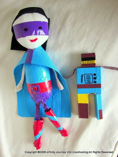 duct tape super hero and robot toys