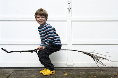 handmade witches broomstick made from sticks and twigs
