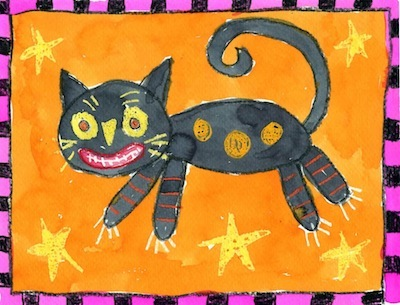 Folk art cat painting things to make and do crafts and for Cat art and craft