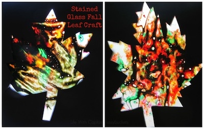 melted crayon stained glass fall leaf craft
