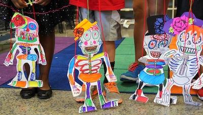 skeleton puppets for Dia de Los Muertos