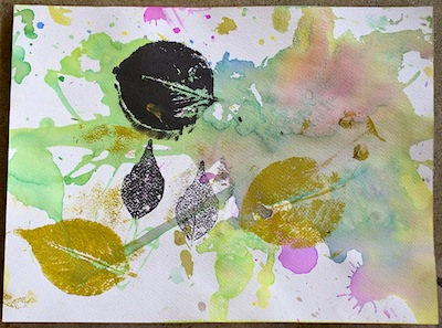 watercolors and leaf printing art for kids
