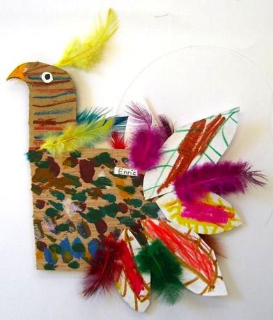 cardboard and feather turkeys