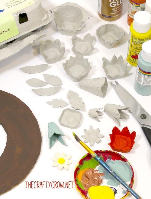 The Crafty Crow fall egg carton wreath craft DIY materials copy