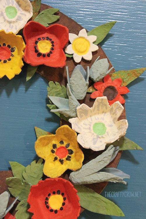 The Crafty Crow fall egg carton wreath craft DIY close up copy