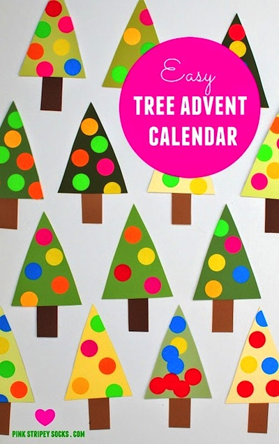 easy polka dot Christmas tree advent calendar