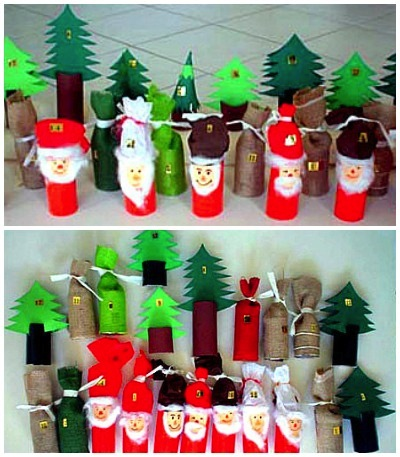 toilet paper roll elf and forest advent calendar