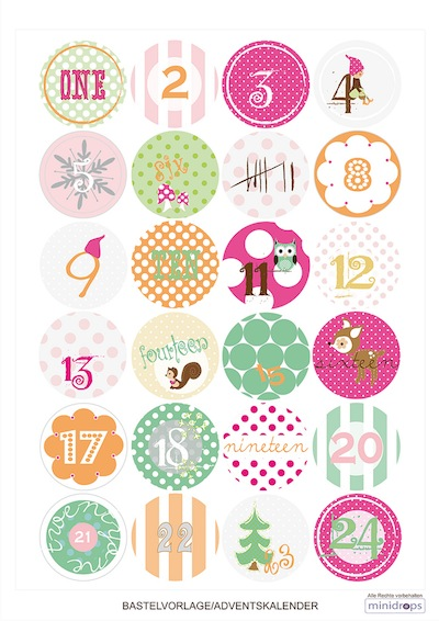Paul & Paula free printable advent calendar tags