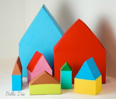 Bella Dia cereal box houses tutorial DIY