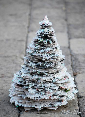 Bella Dia glittery newspaper Christmas tree DIY tutorial