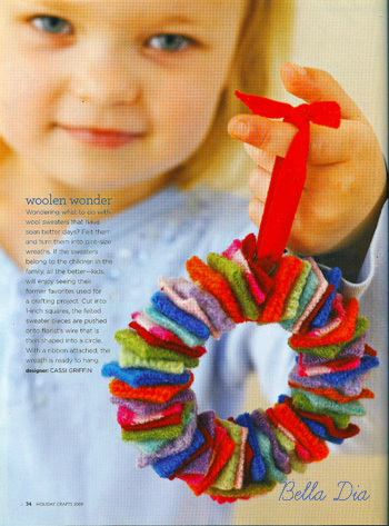 Bella Dia felt wreath tutorial in BHG Holiday Crafts magazine