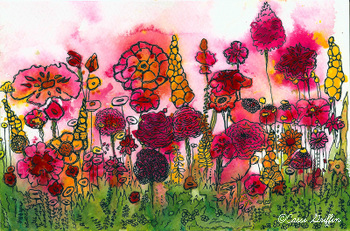Cassi Griffin watercolor #9 pink flower garden
