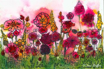 Cassi Griffin watercolor #9 pink flower garden