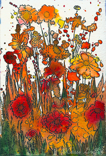 Cassi Griffin early fall watercolor and pen art
