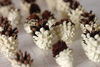 paint-dipped pine cone garland