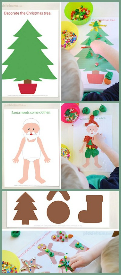 free printable Christmas playdough mats