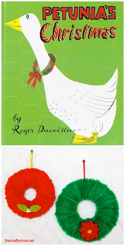 The Crafty Crow Christmas book and craft advent Petunia's Christmas chenille stem wreath craft for kids