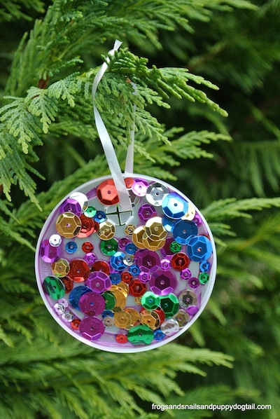 plastic lid and sequin christmas tree ornament