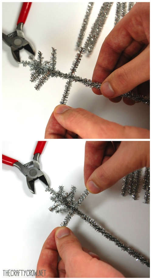 The Crafty Crow tinsel tree tutorial steps 2 and 3