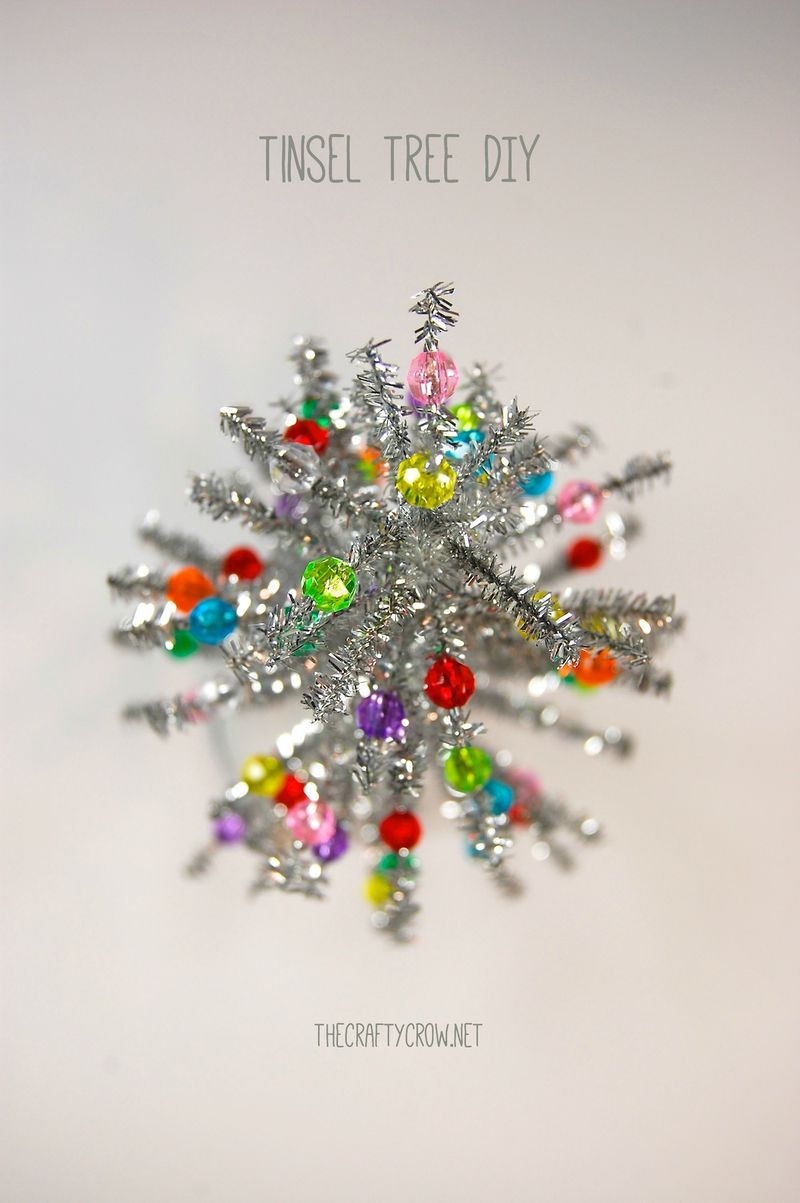 The Crafty Crow chenille stem tinsel tree tutorial DIY