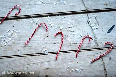 chenille stem candy cane garland craft for kids