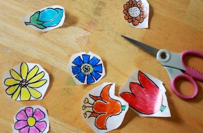 The Artful Parent stickers made from clear contact paper